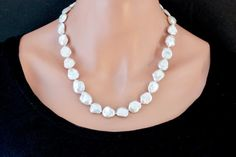 White Freshwater Pearl Necklace Keshi Pearl Necklace Beaded