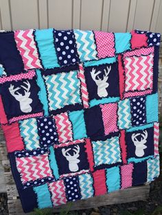 Rag quilt style nursery bedding in navy blue, hot pink, aqua turquoise, with chevron and applique Stag (deer) silhouettes for Baby Girl Bedding. The modern Hunting Baby Crib Bedding features - All fab Deer Bedding, Woodland Crib Bedding, Navy Bedding, Baby Girl Crib Bedding, Baby Cribs, Quilt Baby, Toddler Bed Quilt, Baby Girl Quilts, Rag Quilt