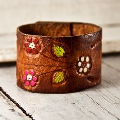 Hand Tooled Leather Cuff Vintage Bracelet. Available at http://www.rainwheel.etsy.com $25