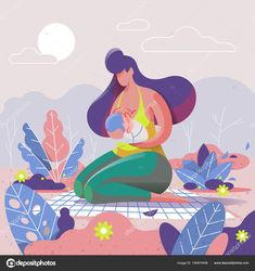 Mother Breastfeeding Her Child Park Vector Illustration Illustration Art Drawing, Simple Illustration, Graphic Design Illustration, Art Drawings, Breastfeeding Art, Mothers Day Poster, Doodle Characters, Art Template, Cartoon Wallpaper