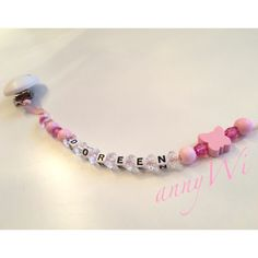 Schnuller schnullerkette Baby rosa pink Buchstaben Perlen diy