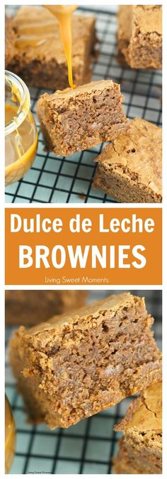 Dulce de leche brownies recipe - Ooey Gooey fudgy brownies are filled with dulce de leche & chocolate chunks. The perfect dessert for any occasion. More brownie recipes at livingsweetmoment. Brownie Recipes, Cookie Recipes, Dessert Recipes, Fudgy Brownie Recipe, Brownie Bites, Cake Flan, Tiramisu Cake, Easy Desserts, Delicious Desserts
