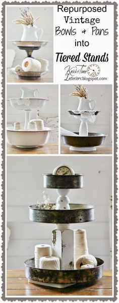 Repurposed Vintage Bowls and Pans into Tiered Stands via http://KnickofTime.net