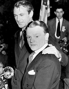 """GARY COOPER and JAMES CAGNEY at the Oscar ceremony for 1942 films. Cagney won that year as Best Actor for """"Yankee Doodle Dandy;Cooper had won the year before for """"Sergeant York."""""""