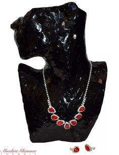 Clip-On Ruby Red Rhinestone Necklace Jewellery Set | £15.00 |Tel 07753607300 | www.absoluteglamourformals.co.uk