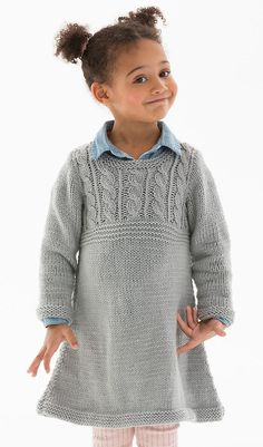 Free Knitting Pattern for a Girl's Cable Sweater Dress. Skill Level: Easy Sizes: 6 and 8 years This is the perfect style for a busy child's life that has dress up or casual days. It is knit with an easy cable yoke.