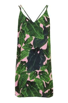 Palm Print Cross-Back Slip Dress