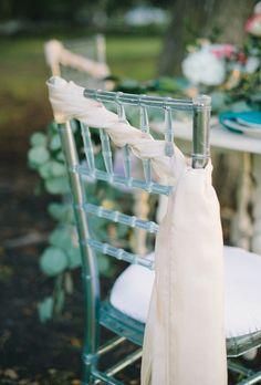 Wedding chair - Soft Pastel Waterside Wedding by Poppy + Vine Events (Event Design) + Sarah McKenzie Photography - via ruffled