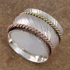 AMAZING JEWELRY FOR SELL 925 STERLING SILVER SPINNER HOT RING 6.75g R8060 S-6.5 #Handmade #SpinnerRing