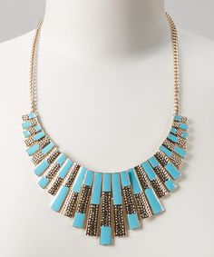 Look at this #zulilyfind! Gold & Turquoise Rectangle Bib Necklace by Fantasy World Jewelry #zulilyfinds