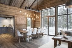 We all know that best ski resorts are in Alps or Pyrenees and best mountain homes are French or Swiss chalets. But do not forget the Scandinavians has ✌Pufikhomes - source of home inspiration Chalet Interior, Interior Design Living Room, Modern Cabin Interior, Cabin Homes, Log Homes, Casas Country, Scandinavian Cottage, Scandinavian Living Rooms, Scandinavian Interiors