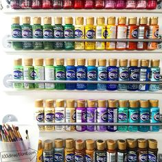 Acrylic Paint Storage Using Outside of a Cabinet Door | 26 Craft Room Ideas Every Crafter Would Love