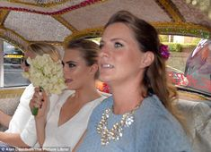 Let's party! Sisters Cara and Chloe are driven from the ceremony...