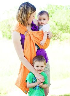 Boracay Citrus-Orange linen ring sling  www.wovenwraps.com