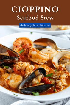 Classic Cioppino San Franciscan-style seafood stew made with tomatoes, wine, spices and herbs. #thehungrybluebird #cioppinorecipe #classic #sanfrancisco #seafoodstew #seafood #seafoodsoup Seafood Soup Recipes, Seafood Stew, Shrimp And Lobster, Fish And Seafood, Just Cooking, Cooking Crab, Cioppino Recipe, Bisque Recipe, Fish Stew