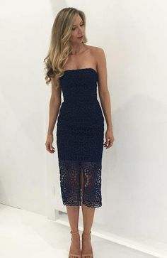 $139 Rental- NICHOLAS Geo Floral Lace Strapless Dress (Navy) - RRP $595 Sydney dress hire dress for a night