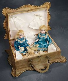 Two German All Bisque Miniature Twins, Model 133, by Kestner 600/900