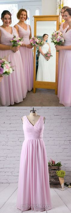 V-neck Bridesmaid Dresses, Long Bridesmaid Dress,Pink Bridesmaid Dresses, Chiffon Bridesmaid Dresses