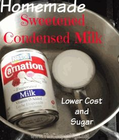 There have been a lot of coupon deals and sales on evaporated milk, but I haven't seen many on Sweetened Condensed Milk.` Not only that, but even the regular price of the Sweetened Milk variety is al (Favorite Desserts Condensed Milk) Frugal, Homemade Sweetened Condensed Milk, Sweeten Condensed Milk Recipes, Condensed Milk Substitute, Sugar Free Condensed Milk, Sugar Substitute, Evaporated Milk Recipes, Cooking Tips, Cooking Recipes