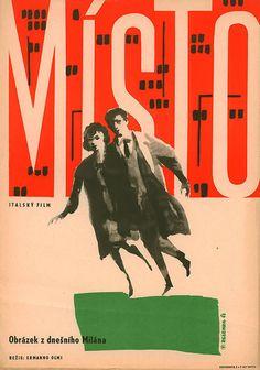 1962 Czech poster for IL POSTO (Ermanno Olmi, Italy, 1961)  Designer: Jaroslav Zelenka (1921-1973)
