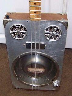 Rockhill Electric/ Acuostic Dog dish Resonator cigar box guitar