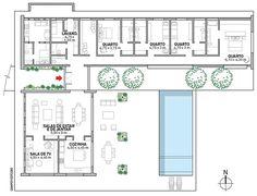 Refúgio de campo tem estilo provençal | Arquitetura e Construção 6 Bedroom House Plans, Cottage House Plans, Dream House Plans, Small House Plans, House Floor Plans, U Shaped House Plans, U Shaped Houses, Architecture Site Plan, Model House Plan