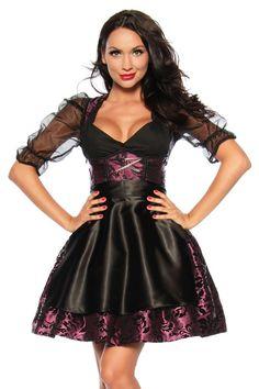 Sexy Dirndl violett / schwarz Kleid Oktoberfest 4-teilig, Größe:S