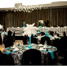black,white & turquoise wedding! Making me lean towards this for our wedding colors! Love this!