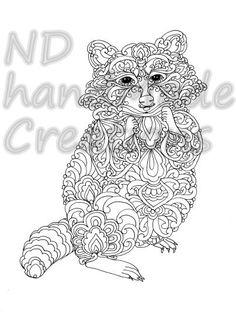 Paisley Doodle Raccoon N1 Animal Pattern Printable Coloring Book Sheet Adults Children PDF JPG Instant Download