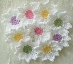 Fresh as a Daisy Crochet Flowers Appliques por IreneStitches