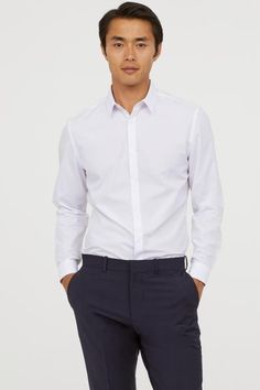 Easy-iron Shirt Slim fit - White - Men | H&M US 1