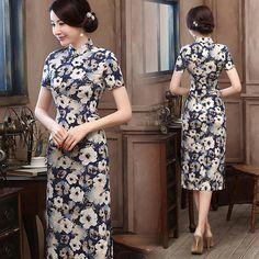 Beige flowers neutral blue linen short sleeve casual cheongsam dress | Modern Qipao