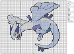 Click the image to enlarge, right click and select Save As to download the pattern. To see what it'll look like stitched, check out what other people have made below. Lugia by =behindthesofa on deviantART Lugia Pokemon Cross Stitch FOR SALE by ~lizardlea on deviantART Lugia Cross Stitch by ~Letheine on deviantART