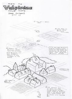 An isometric or perspective map can be used to give players a better sense of place, sometimes providing details that a flat plan simply can't portray, sometimes adding elements of depth in a more meaningful way that spatially-challenged players might have problems visualising, and other times just because it looks cool. This style of mapping really starts to blur the line between cartography and scenic illustration.