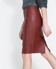 Burgundy leather pencil skirt? Yes. Please! @· ZARA ·