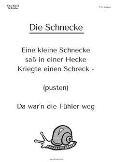 """""""Die Schnecke"""" Fingerspiel Kindergarten Kitakiste"""
