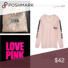 NWT VS PINK OVERSIZED CAMPUS VNECK LARGE NWT VS PINK OVERSIZED CAMPUS VNECK LARGE. New in package! Many other colors available! Sold out at VS! Discounts on all bundles PINK Victoria's Secret Tops Tees - Long Sleeve