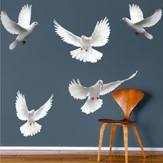 Doves Wall Sticker Decal Dove Wall Art Flying Birds Wall Decor Animal Wall Stickers, a26