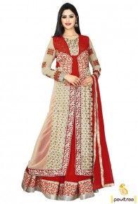 Red Beige Chiffon Lehenga Salwar Suit  http://www.pavitraa.in/store/lehenga-style/