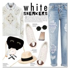 """""""Bright White Sneakers"""" by oshint ❤ liked on Polyvore featuring Peter Pilotto, adidas, Dsquared2, Chanel, WithChic, Eugenia Kim, white, sneakers and whitesneakers"""