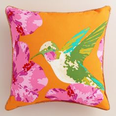 Featuring our vibrant, exclusive design, our hummingbird throw pillow is made of high-performance fabric with natural braided jute detailing. www.worldmarket.com #WorldMarket Outdoor Entertaining