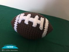 5 Little Monsters: Crochet Patterns Crochet Dolls, Crochet Baby, Free Crochet, Crochet Football, Football Usa, Little Monsters, Crochet Animals, Pet Toys, Free Pattern