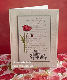 Painted Poppies and Very Versailles, with sentiment from Peaceful Moments Stampin' Up! Kiwi Lane Designs, Poinsettia Cards, Poppy Cards, Stamping Up Cards, Get Well Cards, Copics, Sympathy Cards, Creative Cards, Flower Cards
