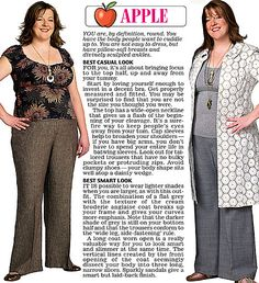 Trinny and Susannah show off the clothes to suit the apple women's body type.