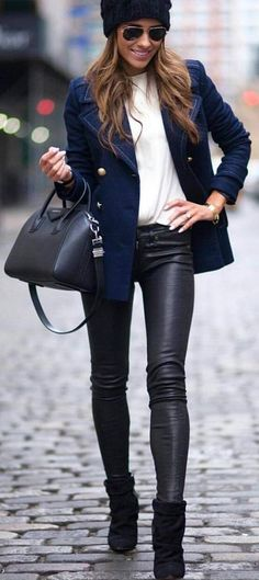 #streetstyle #spring2016 #inspiration  Navy + Black And White  Brooke Carrie Hill