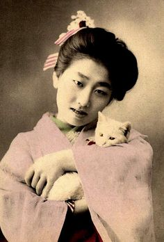 Cats in Art, Illustration, Photography, Decorative Arts, Textiles, Needlework and Design: A GEISHA AND HER CAT by Okinawa Soba, via Flickr