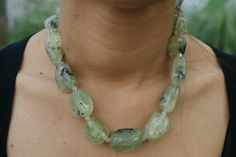 Green Prehnite Stone Statement Necklace - DISCOUNTED 39%!!! NOW ONLY $67! Then it was $110 - but still FREE DELIVERY WORLDWIDE. Avail yours now! Transform plain outfits into boho appeal with this statement necklace made with 100% Prehnite and Quarts stones! For women of all ages! #seasidevibes #thailand #prehnite #greennecklace #statementnecklace #necklace