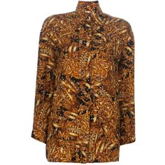 Pre-owned Gianfranco Ferre Vintage print shirt ($555) ❤ liked on Polyvore featuring tops, print top, button front shirt, gianfranco ferré, button front top and brown shirts