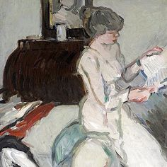 Interior with Girl in White Samuel John Peploe, RSA (British, Oil on canvas. This 'White Period' picture was painted in what had been Sir Henry Raeburn's studio in York. Munier, Girl Reading Book, Books To Read For Women, Art Costume, Book Letters, Pictures To Paint, Figurative Art, Various Artists, Female Art