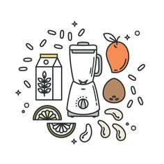 """Vegan Mango Cashew """"Yogurt"""", the perfect option for a healthy summer breakfast. This recipe is 100% plant-based, delicious and very easy to make. #line #icon #vector #illustration"""